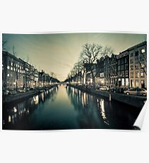 Amsterdam Canal Street view at Night Poster