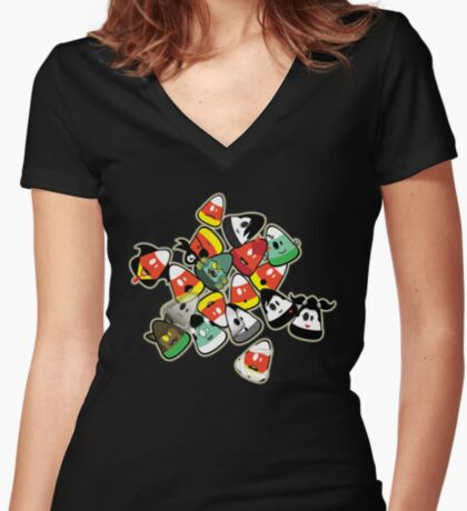 Horror Corn :) Women's Fitted V-Neck T-Shirt