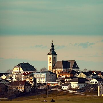 Small village skyline with mint sky | landscape photography by patrickjobst
