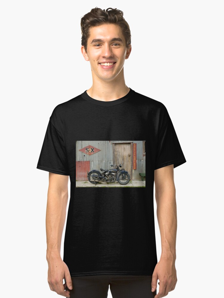 Indian Chout at the old Okains Bay Garage Classic T-Shirt Front