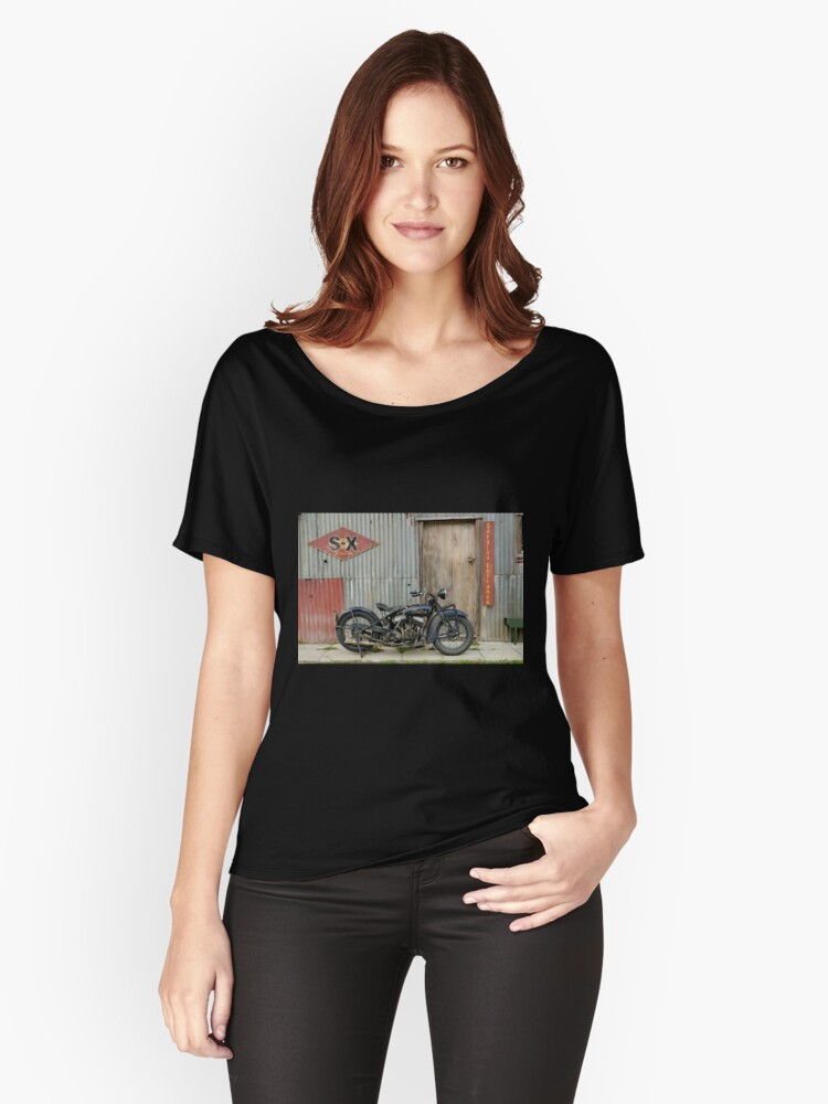 Indian Chout at the old Okains Bay Garage Women's Relaxed Fit T-Shirt Front