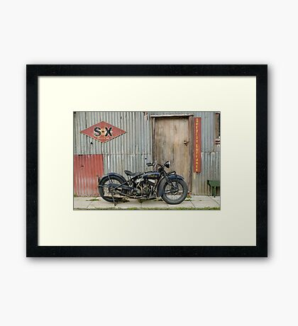 Indian Chout at the old Okains Bay Garage Framed Print