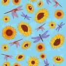 Sunflowers & Dragonflies by AJonson