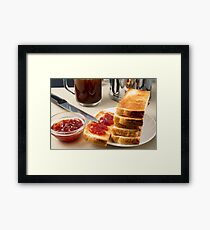 Plate with fried slices of bread for breakfast Framed Print