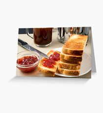 Plate with fried slices of bread for breakfast Greeting Card