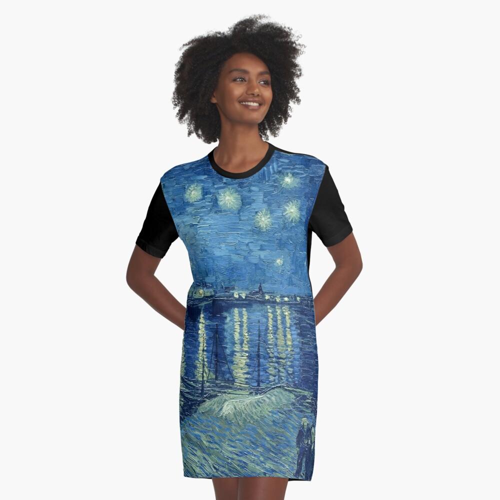 Vincent van Gogh - Sternennacht über der Rhône T-Shirt Kleid