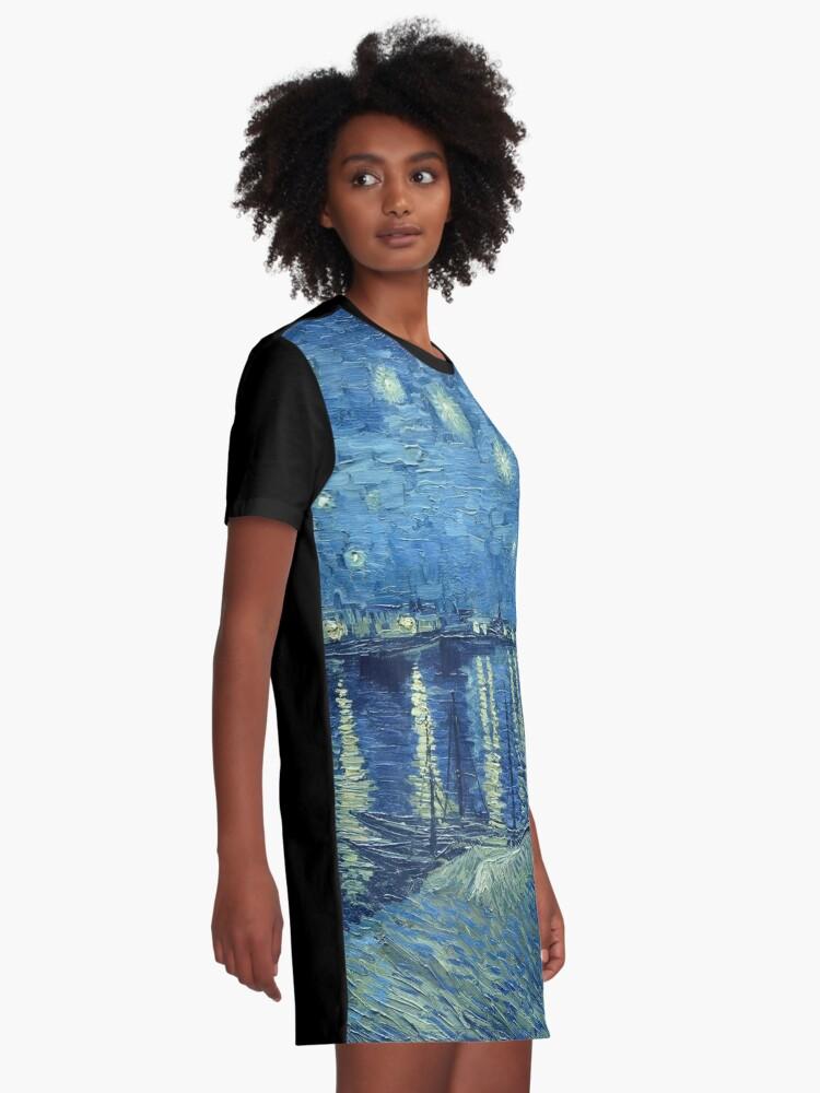 Alternative Ansicht von Vincent van Gogh - Sternennacht über der Rhône T-Shirt Kleid