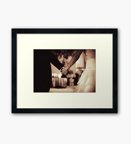 Bride and groom holding hands black and white film silver gelatin sepia fine art analog wedding photo Framed Print