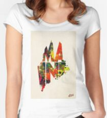 Maine Typographic Watercolor Map Women's Fitted Scoop T-Shirt