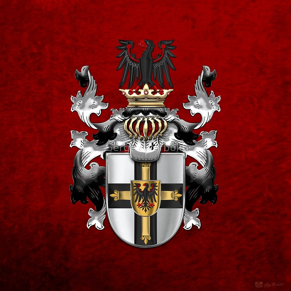 Teutonic Order - Coat of Arms over Red Velvet by Serge Averbukh