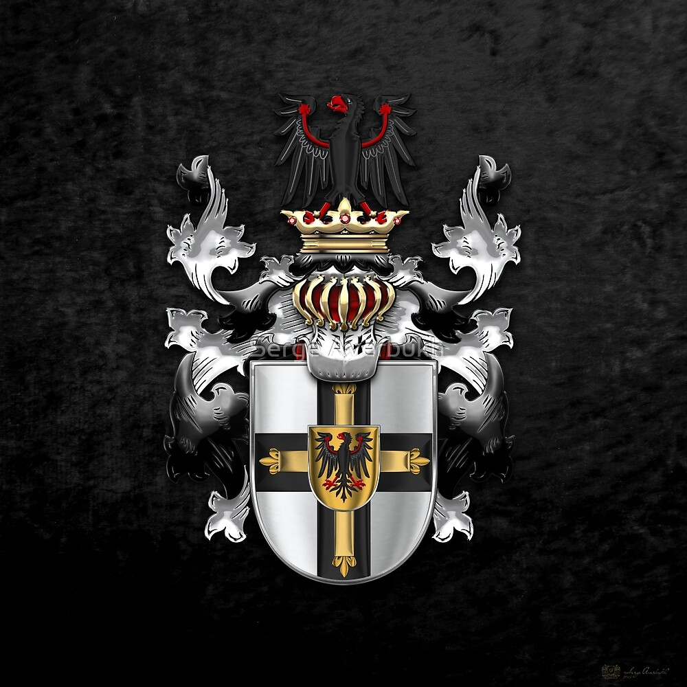 Teutonic Order - Coat of Arms over Black Velvet by Serge Averbukh