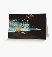 Drinks bar in party xpro cross processed c41 slide film analog photograph Greeting Card