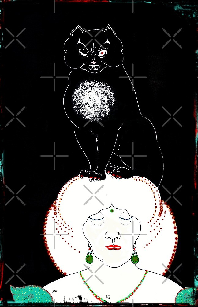 Poe Cat on Her Head by diane  addis