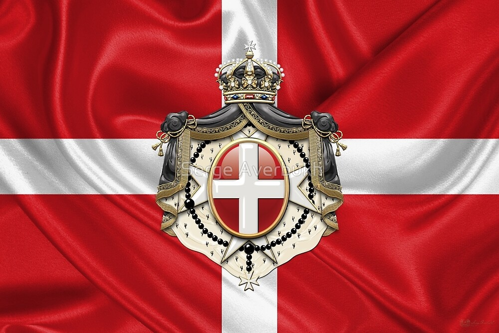 Sovereign Military Order of Malta – SMOM Coat of Arms over Flag by Serge Averbukh