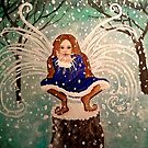 Blowing Christmas Wishes & Kisses - Holiday Winter Snow Fairy Art by CarolOchs