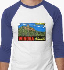 Winona Minnesota Sugar Loaf Vintage Travel Decal Men's Baseball ¾ T-Shirt