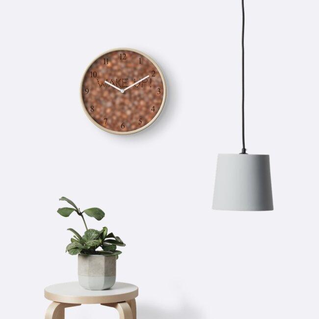 Coffee beans background WAKE UP! by Lukasz Szczepanski