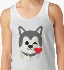 Siberian Husky Emoji Flirting and Blowing Kiss Men's Tank Top