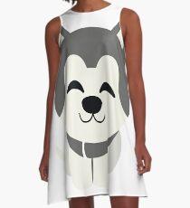 Siberian Husky Emoji Delighted Cheerful Look A-Line Dress