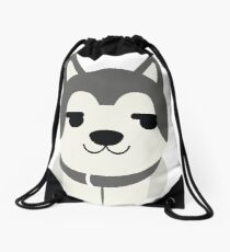 Siberian Husky Emoji Secretly Happy Face Drawstring Bag