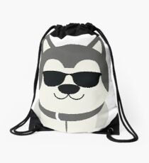 Siberian Husky Emoji Cool Sunglasses Look Drawstring Bag