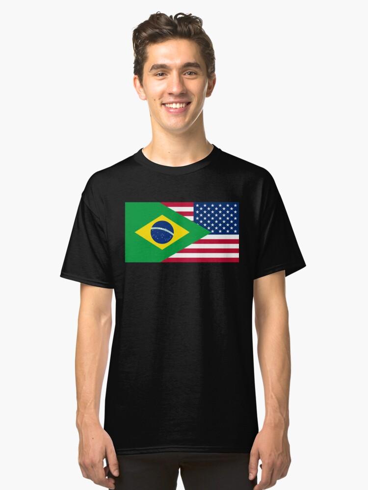 Brasileiro American Flag Classic T-Shirt Front