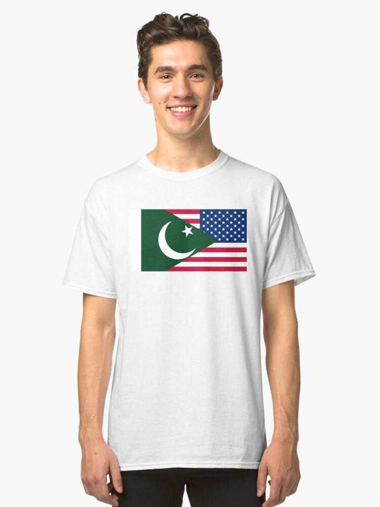 Pakistani American Flag Classic T-Shirt Front
