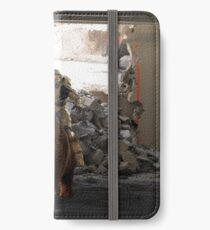 Master Chief Riding a bear while being rode by a baby bear  iPhone Wallet/Case/Skin