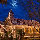 Little Village Church at Christmas with Star from Heaven by Bonnie T.  Barry