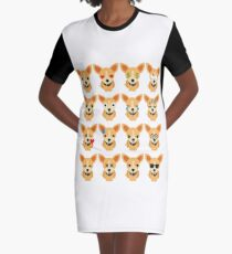 Chihuahua Emoji Different Facial Expression Graphic T-Shirt Dress