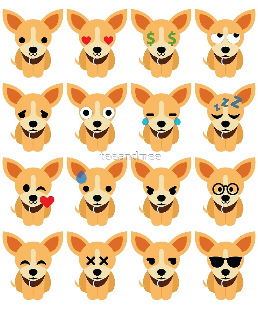 Chihuahua Emoji Different Facial Expression by teeandmee