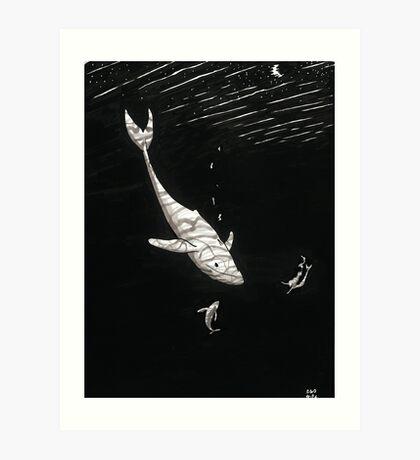 Whales and Mermaid Art Print