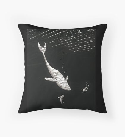 Whales and Mermaid Throw Pillow