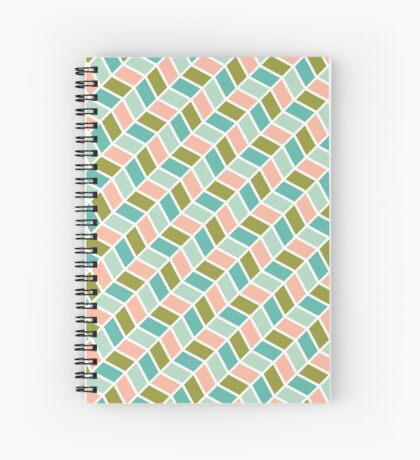 Herringbone Pink Christmas Spiral Notebook