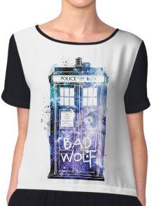 Doctor Who Tardis Bad Wolf Watercolor Chiffon Top