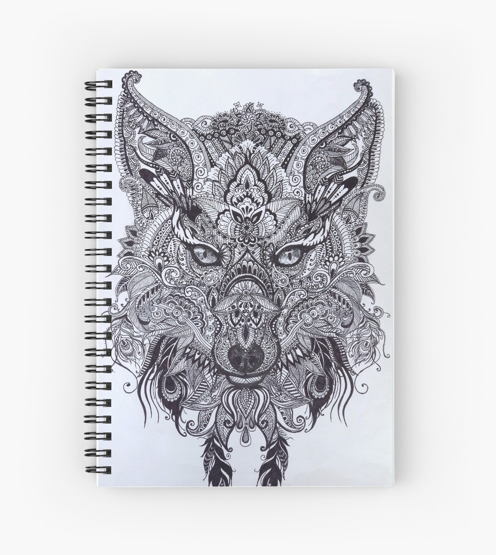 Zentagle Ornate Mandala Wolf Fuchs Geist Tier Design\