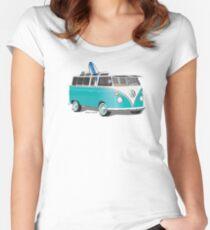 Split VW Bus Teal with Surfboard Hippie Van Women's Fitted Scoop T-Shirt