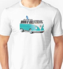 Split VW Bus Teal with Surfboard Hippie Van T-Shirt