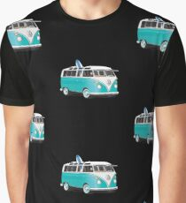 Split VW Bus Teal with Surfboard Hippie Van Graphic T-Shirt
