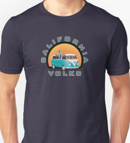 California Volks Split Bus Samba Bus with Surfboard T-Shirt