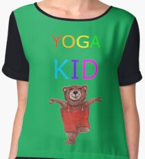 YOGA KID with Teddy Bear in Tree pose Women's Chiffon Top