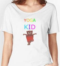 YOGA KID with Teddy Bear in Tree pose Women's Relaxed Fit T-Shirt