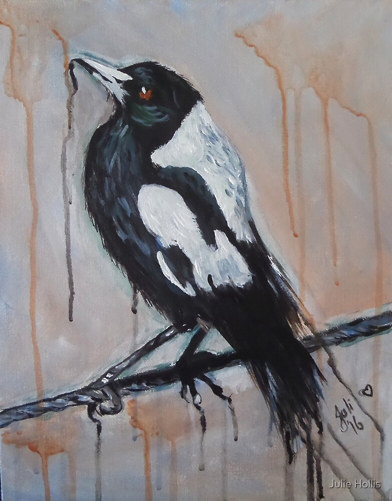 Magpie on a Wire by Julie Hollis