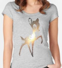 Space Bambi | Leo Women's Fitted Scoop T-Shirt