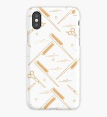 Cute pattern of scissors for cutting hair and combs.  iPhone Case/Skin