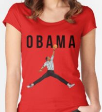 Obama Basketball Mashup Women's Fitted Scoop T-Shirt