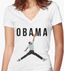 Obama Basketball Mashup Women's Fitted V-Neck T-Shirt