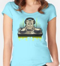 Cool Cat DJing by Basement Mastermind Women's Fitted Scoop T-Shirt