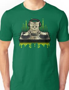 Cool Cat DJing by Basement Mastermind Unisex T-Shirt