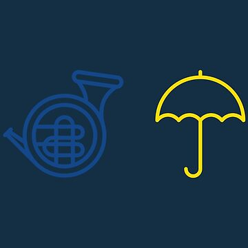 Blue French Horn Vs. Yellow Umbrella by meichi